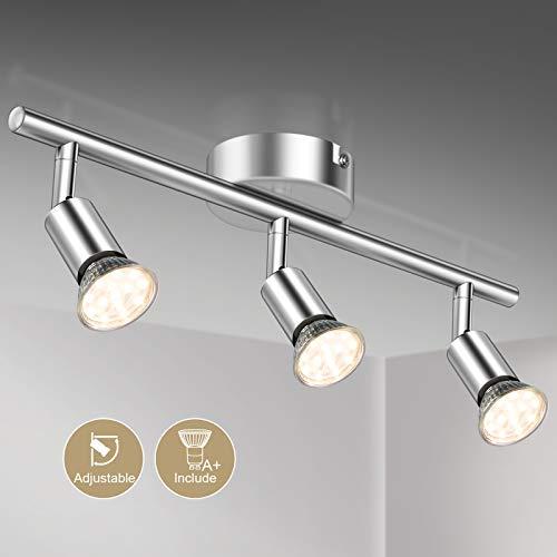 Defurhome LED Deckenleuchte Drehbar, 3 Flammig LED Strahler Deckenlampe Spot,Modern Deckenstrahler (Weißes Chrom) für Küche, Wohnzimmer, Schlafzimmer, inkl. 3 x 3.5 W GU10 LED Lampen (380LM, warmweiß)