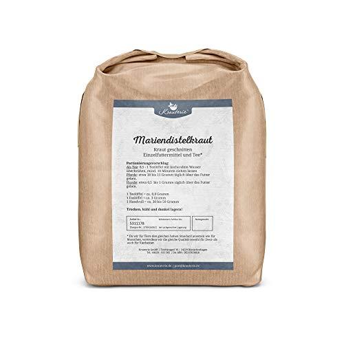 Krauterie Mariendistelkraut in sehr hochwertiger Qualität, frei von jeglichen Zusätzen, als Tee oder für Pferde und Hunde (Silybum marianum) – 1000 g