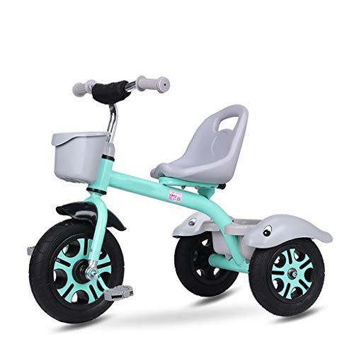 NBgy trehjuling, titan tomt hjul gratis uppblåsbar multifunktionell barns trehjuling, 2-5 år gammal baby utomhus trehjuling, 2 färger, 60 x 76 x 34 cm (färg: Grön)