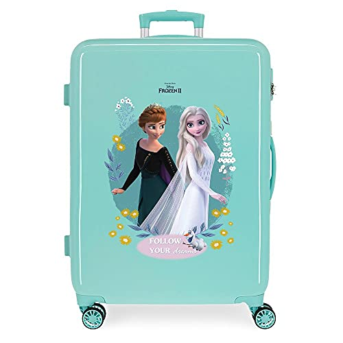 Disney Frozen Follow Your Dreams Maleta Mediana Azul 48x68x26 cms Rígida ABS Cierre de combinación Lateral 70 3 kgs 4 Ruedas Dobles