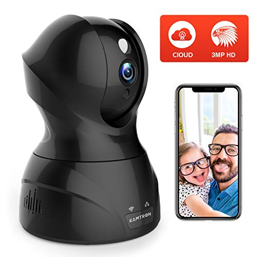 KAMTRON Überwachungskamera WLAN 1536P, Utral HD WiFi IP Kamera mit 350°/100° Schwenkbar,Home/Baby/Haustier Monitor mit Bewegungserkennung,Nachtsicht, unterstützt Fernalarm und Mobile App Kontrolle