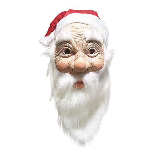 SOUTHSKY Santa Claus Maske Weihnachtsmann Nikolaus mit Glatt Weiß Bart, Weißer Augenbrauen,Inklusive Rot Xmas Mütze für Weihnachten,Karneval,Kostüm,Cosplay,Halloween,Party
