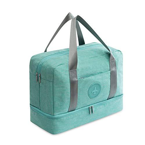 FANDARE Sporttasche Reisetasche Kabinenreisetasche Weekender für Damen/Herren mit Schuhfach 24 L Handgepäck für Übernachtung Strandhandtasche Kosmetiktasche für Reisen Outdoor Camping Grün