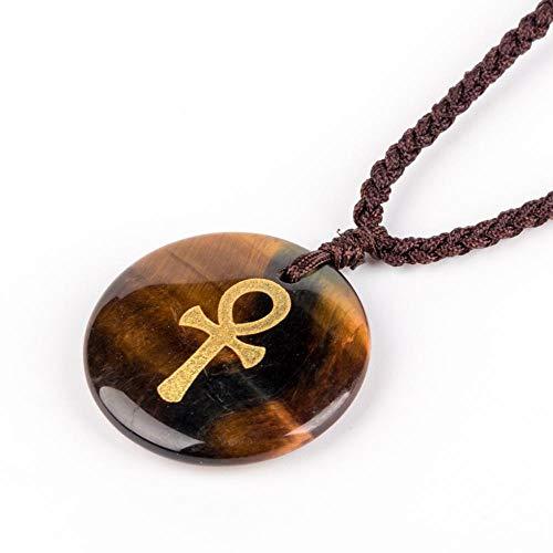 XIAOXIAO Collar con colgante de cruz para hombre y mujer, piedra de cristal natural, cruz religiosa ortodoxa reiki estilo egipcio