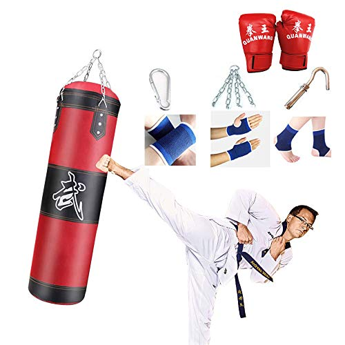 Ubaywey Boxsack Set Ungefüllt 100 x 30 cm Sandsack Punch Bag Hängende Boxsack Kampfsport Dekompression Punchingsäcke für Boxtraining Kampftraining Boxen Kick Schwere Training Fitness