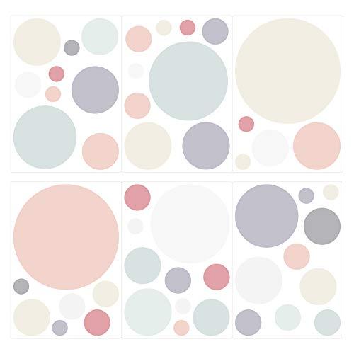 dekodino® Wandtattoo Pastell Punkte in zarten Farben 50 Stück Wandsticker Set