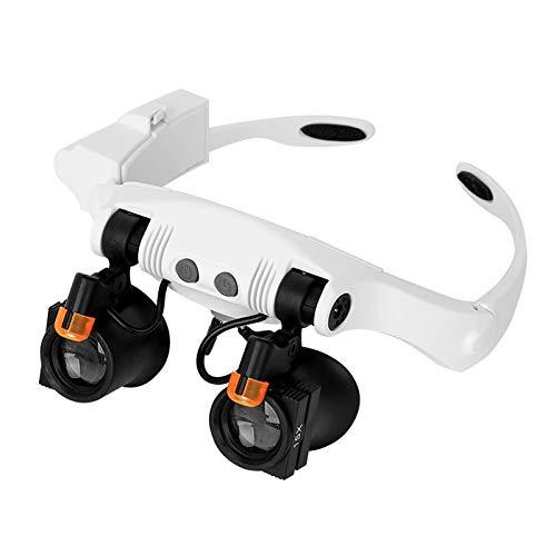 Lupenbrille Hände Frei Kopfband Lupen Kecheer Stirnband Lupe Augenlupen Brillen Stil Freisprechlupe Mehrfachvergrößerungen mit warmen und kühlen LED-Leuchten 3X, 4X, 5X, 6X, 7X, 10X (21 Kombinationen)
