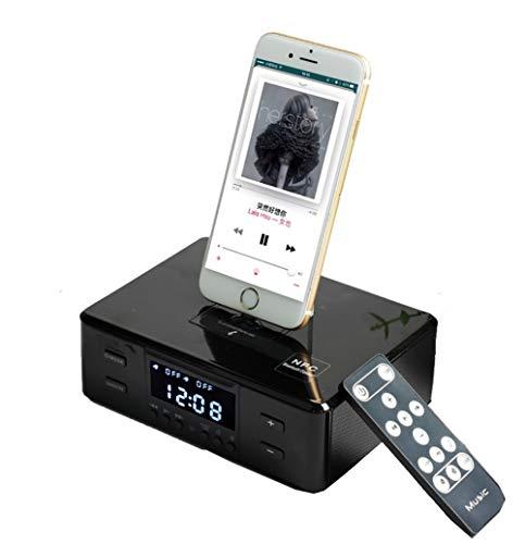 Reloj Despertador Altavoz Bluetooth Junto A La Cama con Cargador USB Y Carga InaláMbrica Qi, EstacióN De Carga InaláMbrica Qi de Carga 3 En 1 para La Oficina del Dormitorio