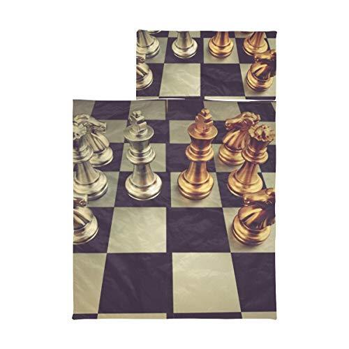 Kinderschlafsäcke Jungenschachbrett mit Schachfiguren auf schwarzer Rollmatte Weiche Mikrofaser Leichte Tagesmatten für Kindertagesstätten Perfekt für Vorschule, Kindertagesstätte und Übernachtungen