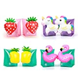 Doctor Dolphin Flamingo Arm Bands, Swimming Arm Toys with Pineapple Unicorn Strawberry, Inflatable Arm Floats for Kids