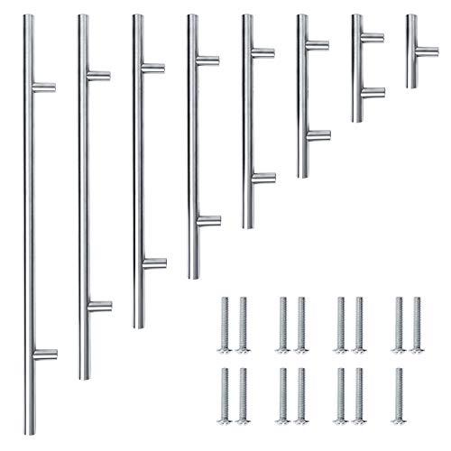 Meisax 10 tiradores de acero inoxidable en forma de T, para muebles de dormitorio, armario de cocina, tamaño grande (distancia entre ejes: 224 mm)