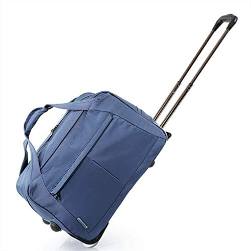 samantha Traveling backpack Trolley Wheeled Suitcase Fabric Cabin Two Large Capacity Suitcase Wheels Blue (Color : Blue, Size : 56 * 34 * 30cm)