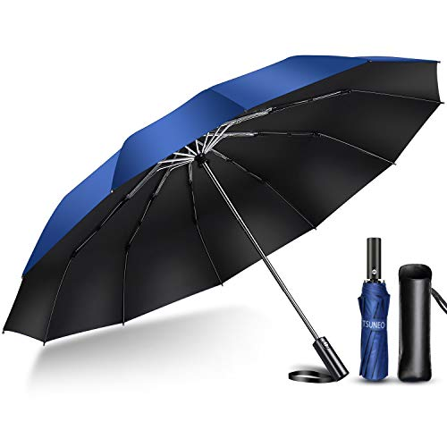 2020 Enhanced Version 12 Ribs Folding Umbrella, Automatic Open/Close, Lightweight, Folding Umbrella, For Rain or Shine, For Typhoons, Rainy Season, Large, Super Water Repellent, 210T High Strength Glass Fiber, Storage Pouch Included - bule
