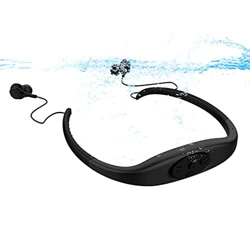 ワイヤレススイミングスポーツヘッドフォンBluetooth5.0ステレオイヤホン、8GBスイミングMP3プレーヤーヘッドセット、ジョギングフィットネスを実行するためのIP68防水ワイヤレスインイヤーイヤフォン Black