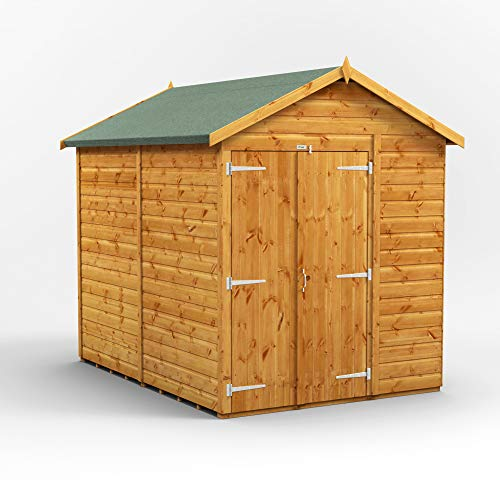 POWER | 8x6 Windowless Apex Double Door Wooden Garden Shed | Shiplap Sheds | Super Fast Delivery | Size 8 x 6
