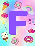 F: Colourful Monogram Personalized Linedbook For Girls And kids With Customized Initial Letter, Birt...
