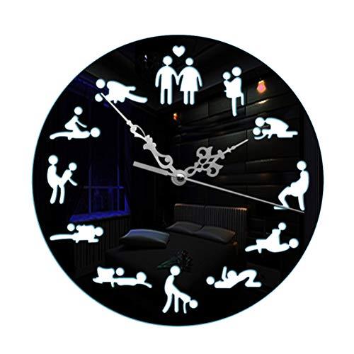 LIOOBO 1 STÜCK Sexuelle Spaß Sex Haltung Wanduhr Kreative Mode Hängen Uhr Ohne Batterie für Home Room Office (Schwarz) Wanduhr
