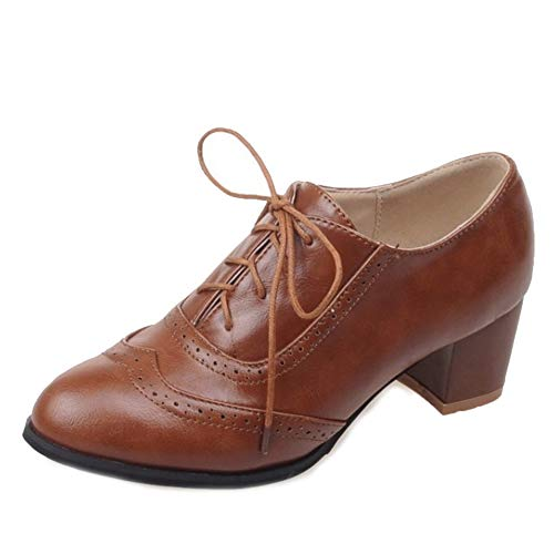 Onewus Damen Brogue Pumps mit Blockabsatz (Brown, 41 EU)