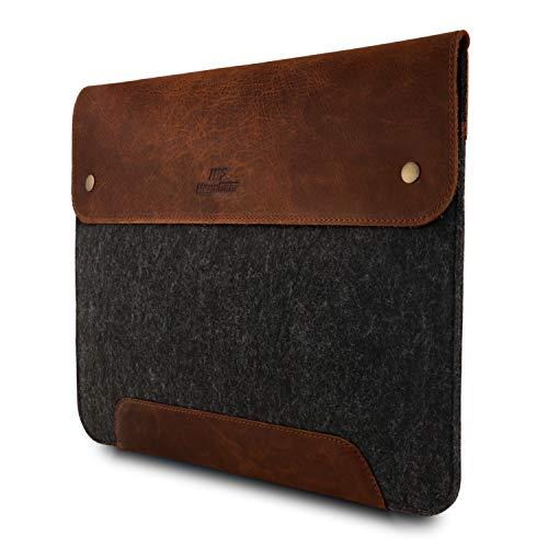 MegaGear - Funda para MacBook (Piel y Forro Polar, 38,1 cm), Color marrón