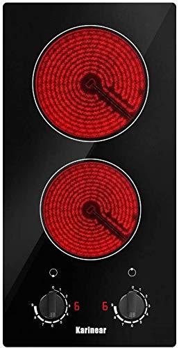 Karinear 30 cm 2 Zones Keramikkochfeld mit Elektronischer Knopfsteuerung, Automatischer Abschaltung, Restwärmeanzeige, 3000W
