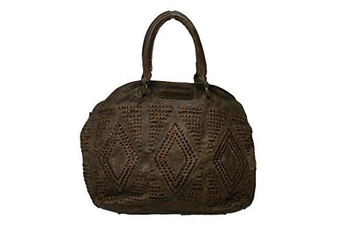 Taschendieb WIEN Handtasche TD 0056 genarbtes Leder Farbe Olive (braun) 35 x 30 x 13 cm