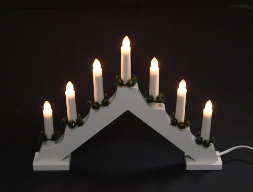 gartenmoebel-einkauf Lichterbogen aus Holz mit 7 elektrischen Kerzen mit Deko, Weiss