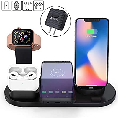Elaime Fast Wireless Charger, 4 in 1 Wireless Charging Dock Compatible with Apple Watch 5 and Airpods Pro, Qi Wireless Charging Station Stand for iPhone 11 11 Pro Max X Xs XR Xs Max 8 8 Plus ?Black? from Elaime