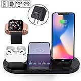 ワイヤレス充電スタンド 3in1 Apple スタンド 置くだけ充電 iPhone/Apple Watch/Airpods 充電器 5W/7.5W/10W出力 Qi対応機種適用 家族用 ブラック