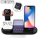Elaime Fast Wireless Charger, 4 in 1 Wireless Charging Dock Compatible with Apple Watch 5 and A…