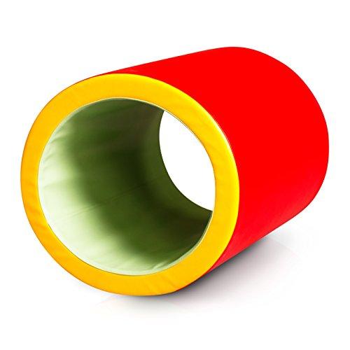Sport-Thieme SI-Rolle für Kinder | Schaumstoffrolle für sensorische Integration, Softplay-Element, Bewegungs-Parcour | 60x50x60 cm, ø: 40 cm | Robustes Kunstleder | Rot, Grün, Hellgrün