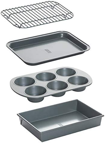 Chicago Metallic Non-Stick Toaster Oven Bakeware Set, 4-Piece, Carbon Steel