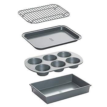 Chicago Metallic Non-Stick Toaster Oven Bakeware Set 4-Piece Carbon Steel