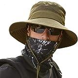 anaoo Sombrero Hombre Gorra de Verano Sombrero Pesca del Sol Gorra al Aire Libre Sombrero Playa Hombre Plegable De ala Ancha Protección UV, Color Verde Fuerte