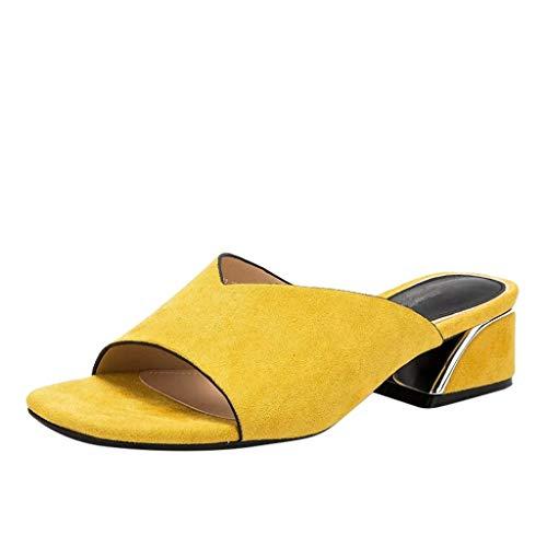 Sandaletten für Damen/Dorical Frauen High Heels Sandalen Plateau Offen Pantoffeln Outdoor Slipper mit 5 cm Absatz Casual Sommer Abend Schuhe Flandell 35-41EU(Gelb,39 EU)