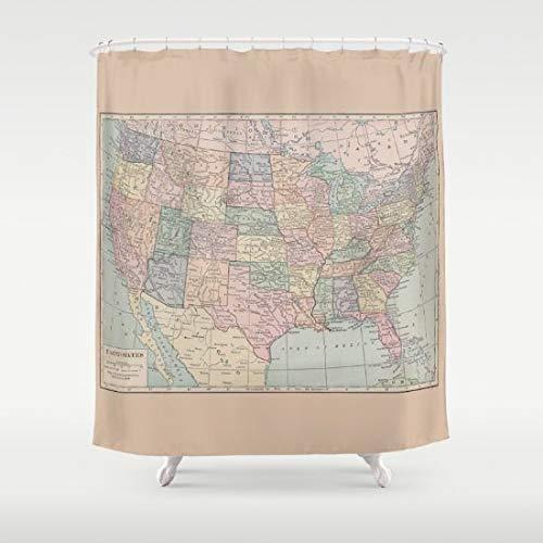 Ad4ssdu4 Duschvorhang Landkarte USA Landkarte Home Decor Badezimmer Lernen Kinder Reise Wanderlust Orte Landkarten