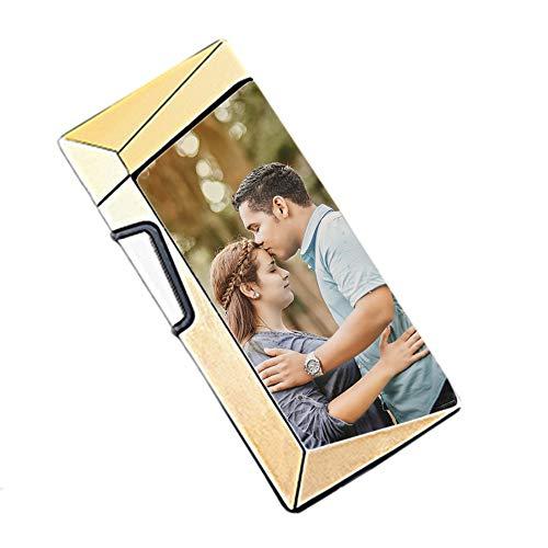 NA Personalisierte Fingerabdrucksensor Feuerzeug Benutzerdefinierte Foto Und Text High-End Feuerzeug(Gold-Doppelseite 75 * 32 * 12mm/2.9 * 1.2 * 0.4 in)