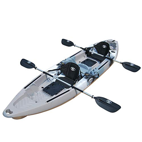 BKC TK122K 12' 6' Tandem 2 or 3 Person SIt On Top Fishing Kayak w/Soft Padded Seats, 2 Paddles and 4 Fishing Rod Holders Included (Grey Camo)