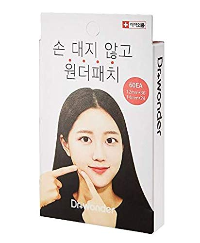 Dr.Wonder Acne Pimple Patch Plus, 60 Dots in 1 Pack, 2 Sizes, Pink - Absorbing Cover Healing Hydrocolloid, Blemish Spot, Skin Treatment