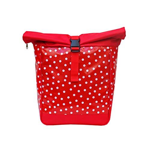 IKURI Fahrradtasche/Rucksack KOMBI Fahrradrucksack aus Wachstuch für Gepäckträger Packtasche Wasserdicht für Frauen - Modell Lunares rot
