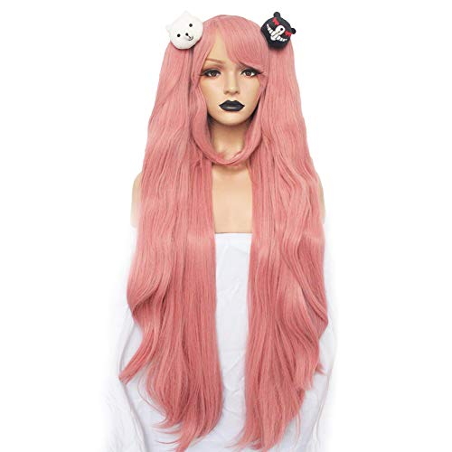 Hair + { 2 Bears } Light Pink Cosplay Wig Long Synthetic Wig For Girls Costume Party Costume Party Halloween Wig With Hair Accessory