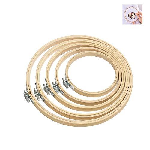 Stickrahmen Nähen,5 Pack Bambus Kreuzstich Set Verstellbare Stickerei Hoop Ringe Runden Holzrahmen für Kunst Handwerk Nähen Needlecraft DIY 5 Größen
