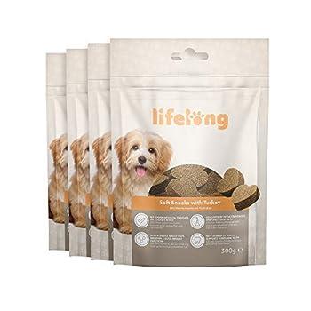 Marque Amazon - Lifelong - Friandises pour chiens, riches in protéines avec dinde (4 pack x 300gr)