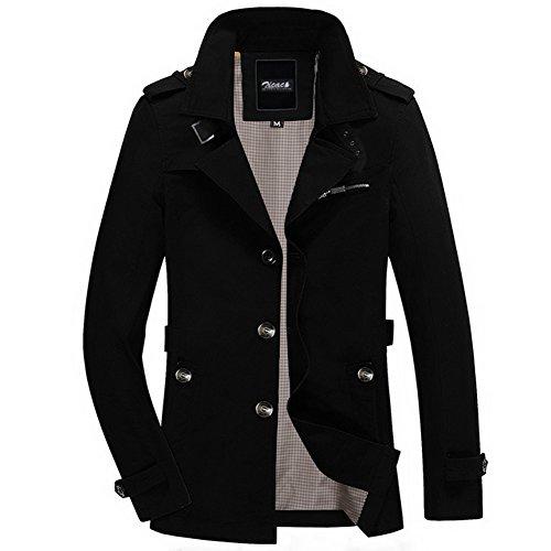 Zicac, giacca da uomo primavera autunno aderente con manica lunga, monopetto e colletto ripiegabile