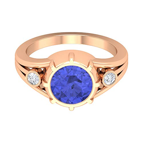 8 MM Lab Created Tanzanite Solitaire Ring, HI-SI Diamond Gold Ring, Split Shank Engagement Ring (AAAA Quality), 14K Rose Gold, Size:UK I1/2