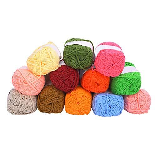 DAUERHAFT 12 Piezas de Hilo de algodón con Leche, Kit de Hilo de Ganchillo Grueso Multicolor,...