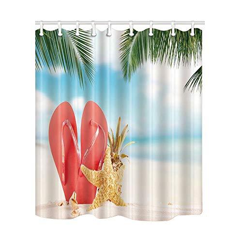 Tenda da doccia da spiaggia, scarpe infradito anguria rossa e stelle marine ananas sulla spiaggia di sabbia tende da bagno in tessuto poliestere impermeabile