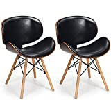 COSTWAY Set of 2 Dining Chairs, w/Soft PU Leather Seat, Back Chair and Wooden Legs, Leisure Chair with Fabric Upholstered Cushion and Non-Slip Plastic Pads, Assemble Easily