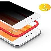 BANNIO Pellicola Privacy per iPhone 7 Plus/iPhone 8 Plus,2 Pezzi Curva 3D Full Screen Vetro Temperato,Anti Spy Pellicola Protettiva Copertura Totale Protezione Schermo per iPhone 7 Plus/ 8 Plus,Bianca