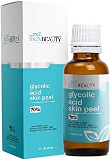 GLYCOLIC Acid 70% Skin Chemical Peel - Unbuffered - Alpha Hydroxy (AHA) For Acne, Oily Skin, Wrinkles, Blackheads, Large Pores,Dull Skin (1oz/30ml)