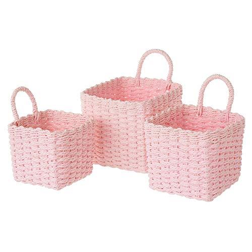 Set de 3 cestas de Fibra de Papel Rosas cuadradas con asa - LOLAhome